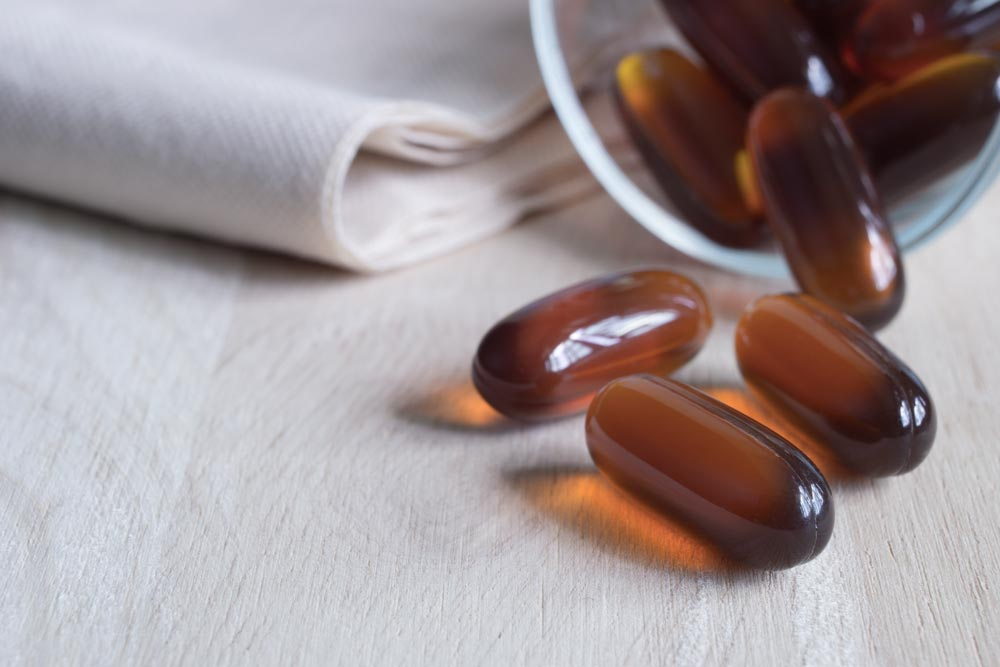 brown capsules with cbd oil
